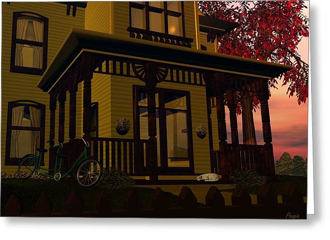 Greeting Card featuring the digital art The Front Porch by John Pangia