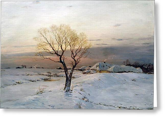 The Frosty Morning Greeting Card by Nikolay Dubovskoy'