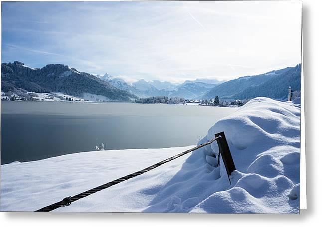 The Frozen Lake Greeting Card by Arylana Art