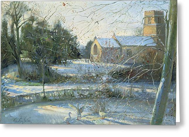 The Frozen Moat, Bedfield  Greeting Card by Timothy Easton