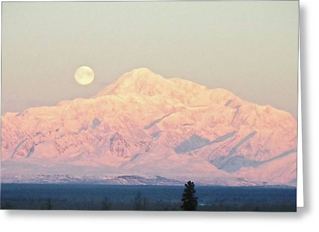 The Full Moon Over Denali Greeting Card
