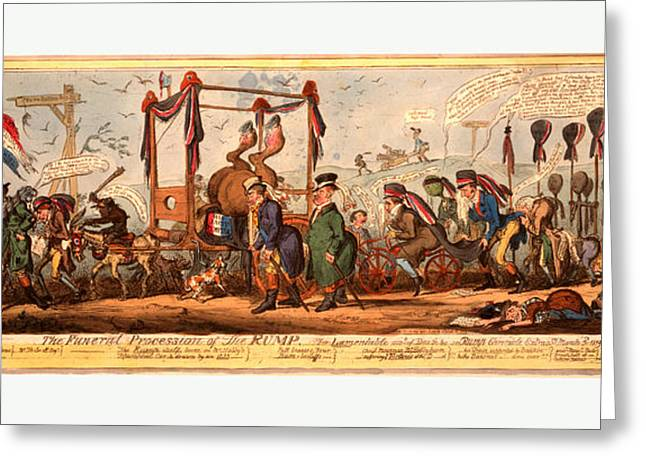 The Funeral Procession Of The Rump, Cruikshank Greeting Card