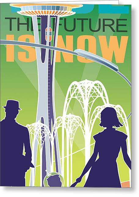 The Future Is Now - Green Greeting Card