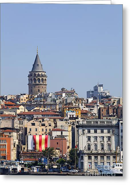 The Galata Tower And Istanbul City Skyline In Turkey   Greeting Card by Robert Preston