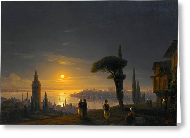 The Galata Tower By Moonlight Greeting Card by Ivan Konstantinovich Aivazovsky