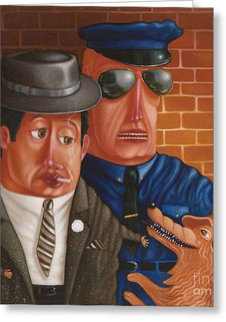 The Gangster The Cop And The Dog 1997 Greeting Card by Lawrence Preston