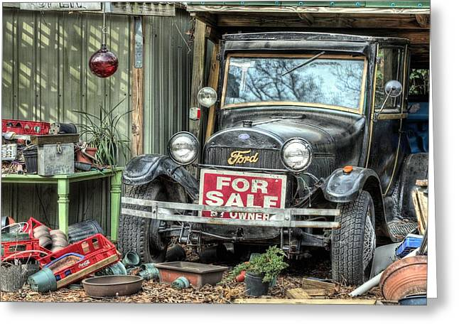Ford Model T Car Greeting Cards - The Garage Sale Greeting Card by JC Findley