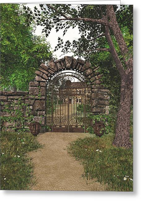 Greeting Card featuring the digital art The Garden Gate by Jayne Wilson
