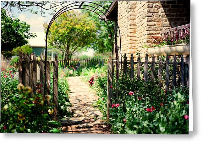 The Garden Gate Greeting Card by Linda Unger