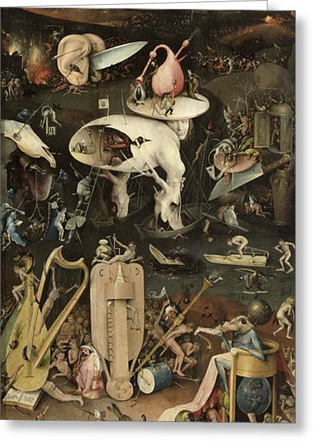 The Garden Of Earthly Delights, C.1500 Oil On Panel Detail Of 3425 Greeting Card by Hieronymus Bosch