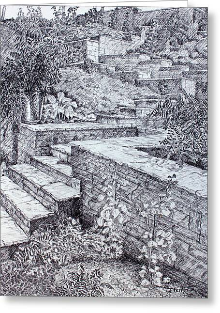 The Garden Wall Greeting Card by Janet Felts