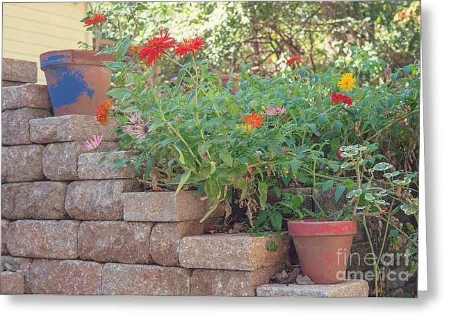The Garden Wall Greeting Card by Kay Pickens