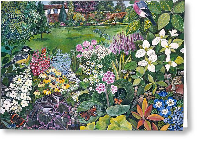 The Garden With Birds And Butterflies Greeting Card by Hilary Jones