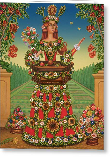 The Gardeners Wife, 2005 Oil & Tempera On Panel Greeting Card by Frances Broomfield