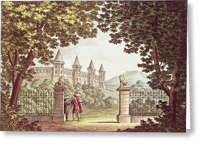 The Gardens Of Windsor Castle, Set Design For The Opera Anna Bolena, Engraved By Ricordi Engraving Greeting Card