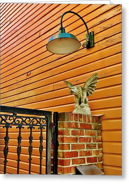 The Gargoyle At The Gate Greeting Card by Jean Goodwin Brooks