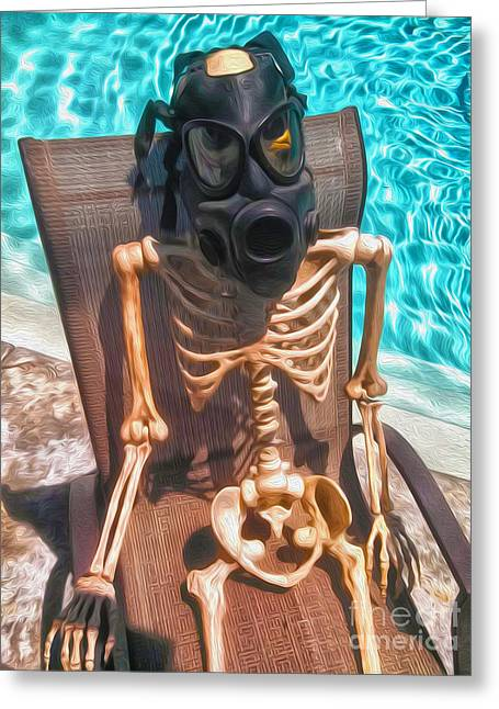 The Gas Mask Skeleton Greeting Card