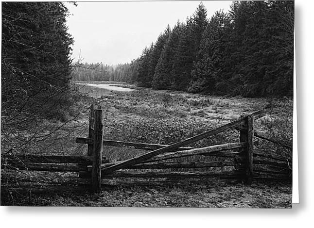 The Gate In Black And White Greeting Card