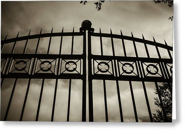 Greeting Card featuring the photograph The Gate In Sepia by Steven Milner