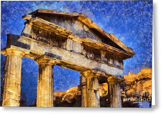 The Gate Of Athina Archegetis And Acropolis Greeting Card