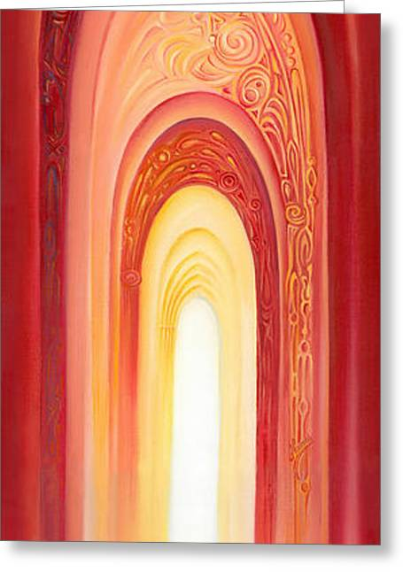 Greeting Card featuring the painting The Gate Of Light by Anna Ewa Miarczynska