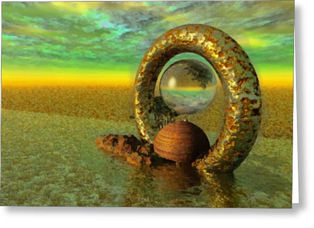 The Gate Of Reflections Greeting Card by Mario Carini