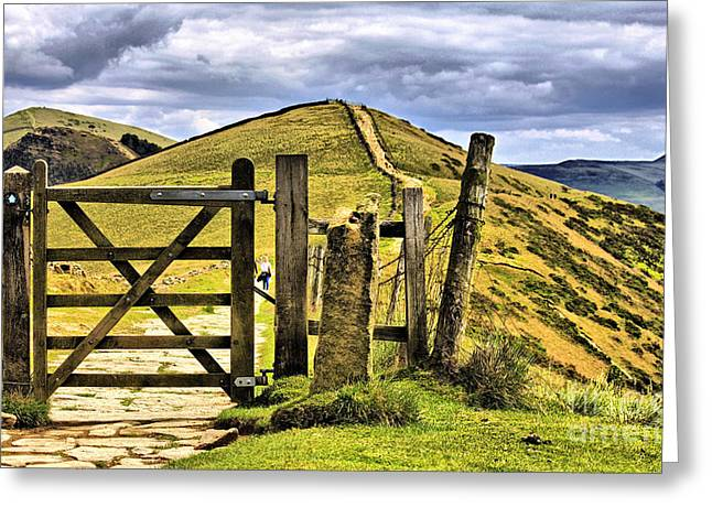 The Gate On The Ridge Greeting Card by Darren Burroughs