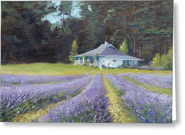 The Gatehouse Store Lavender Farm Greeting Card by Ron Wilson