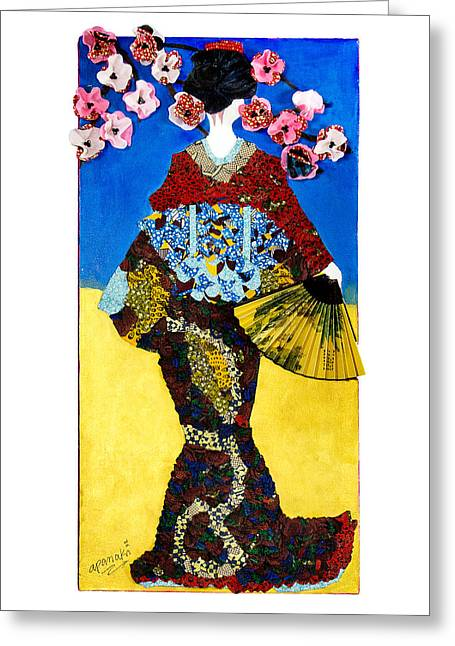 Greeting Card featuring the tapestry - textile The Geisha by Apanaki Temitayo M