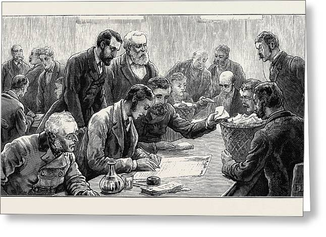 The General Election Counting The Votes At The Southwark Greeting Card by English School
