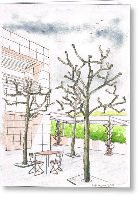 Winter In The Getty Center, Los Angeles, Ca Greeting Card