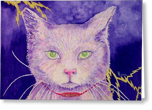 Lightning Strike Paintings Greeting Cards - The Ghost Greeting Card by Rhonda Leonard