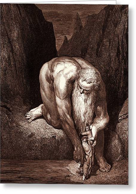The Giant Antaeus, By Gustave Dore, 1832 - 1883 Greeting Card