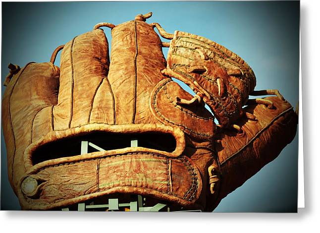The Giants Glove Greeting Card by Holly Blunkall