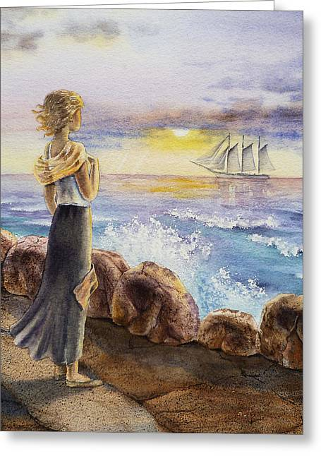 The Girl And The Ocean Greeting Card by Irina Sztukowski