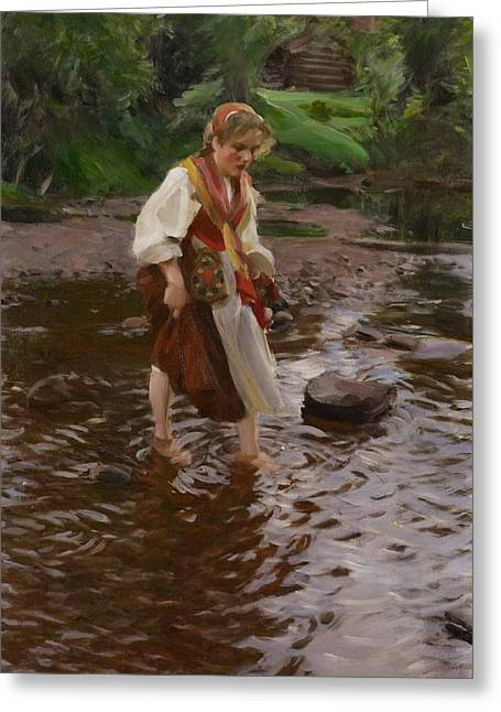 The Girl From Alvdalen Greeting Card by Anders Zorn