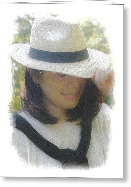 The Girl In The Straw Hat Greeting Card