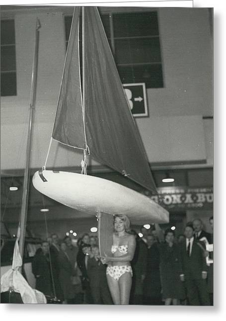 The Girl With A Boat On Her Shoulder. It Weigh Only 40 Les Greeting Card by Retro Images Archive