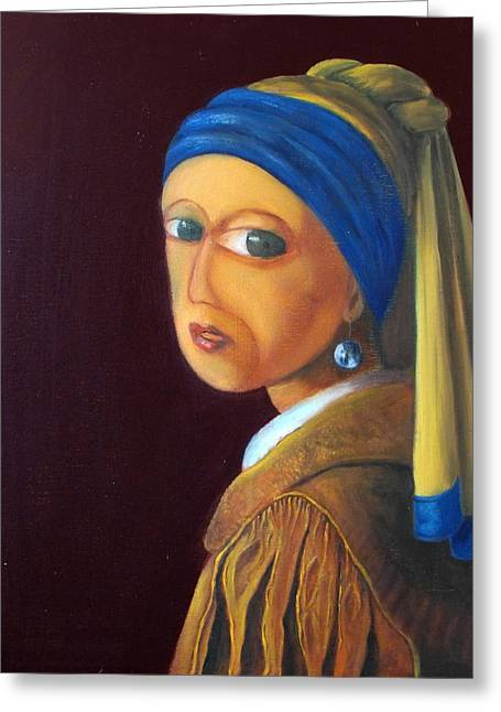 The Girl With A Pearl Earring Vg Greeting Card by Estefan Gargost