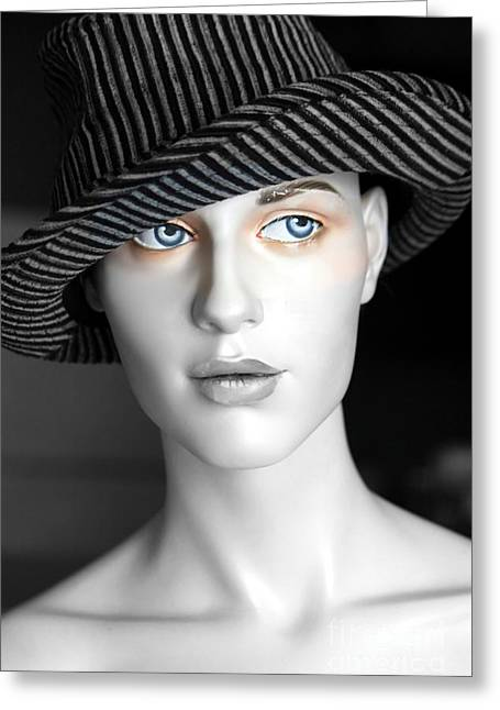 The Girl With The Fedora Hat Greeting Card by Sophie Vigneault