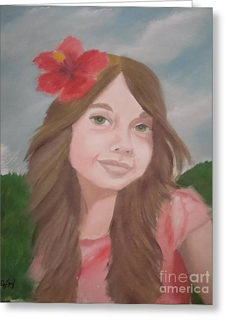 The Girl With The Red Flower II Greeting Card by Angela Melendez