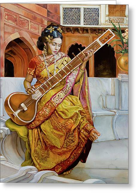 The Girl With The Sitar Greeting Card by Dominique Amendola
