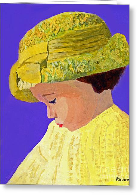 Greeting Card featuring the painting The Girl With The Straw Hat by Rodney Campbell