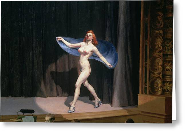 The Girlie Show Greeting Card by Edward Hopper