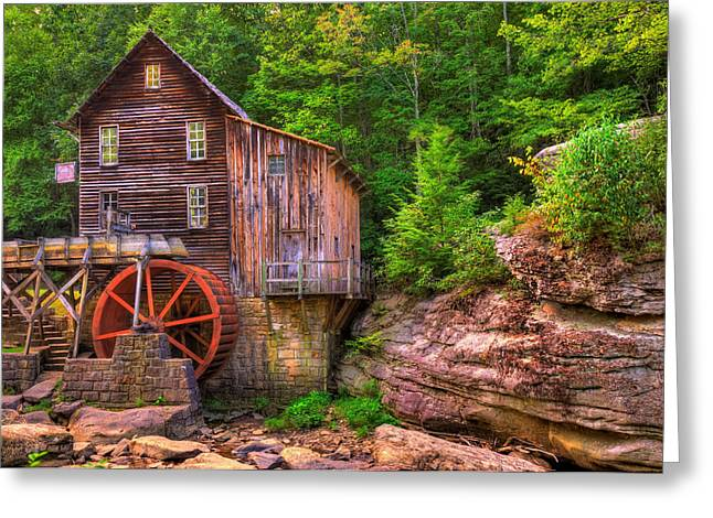 The Glade Creek Grist Mill Greeting Card by Gregory Ballos