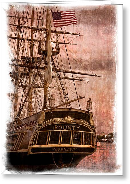 The Gleaming Hull Of The Hms Bounty Greeting Card by Debra and Dave Vanderlaan