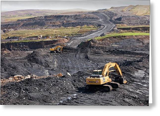 The Glentaggart Open Cast Coal Mine Greeting Card by Ashley Cooper