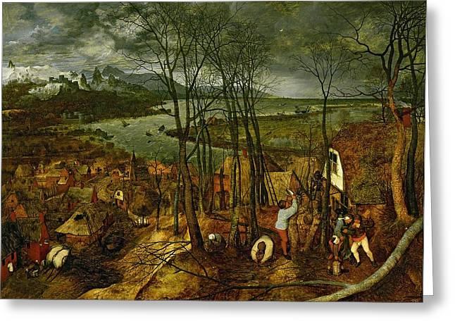 The Gloomy Day - Spring, 1559 Greeting Card by Pieter the Elder Bruegel