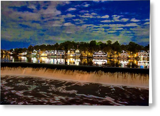 The Glow Of Boathouse Row Greeting Card by Bill Cannon