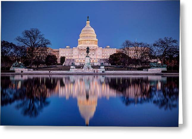 The Glow Of The Capitol Greeting Card